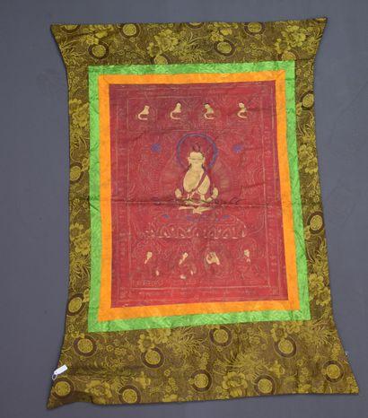 Tangka Tibétain Dimensions : 100 x 65 cm...