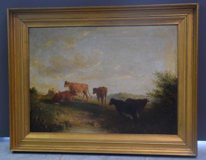 Huile sur toile signée et datée 1892 représentant...