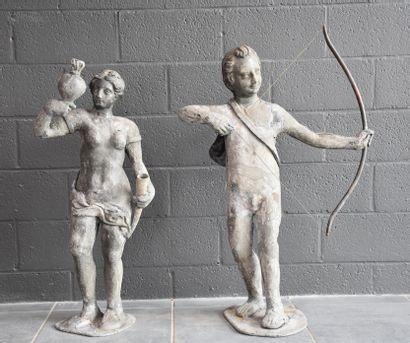 Deux sculptures en plomb d'extérieur. Travail...