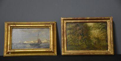 Lot de deux tableaux XIX ème : marine et...