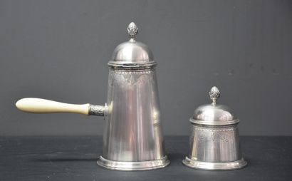 Coffee pot with side handle and its covered sugar bowl all in engraved silver 800,...
