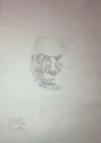 Louis Le Brocquy (1916-2012) Louis Le Brocquy (1916-2012). Portrait à la gouache,...
