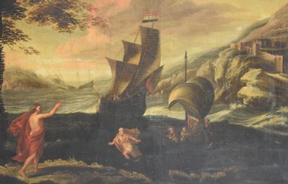 Important storm scene, Flemish school XVIIth century. A cardboard on the back dating...