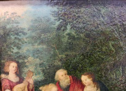 Oil on copper Saint family, Antwerp school XVIIth century. Dimensions : 18 X 23...