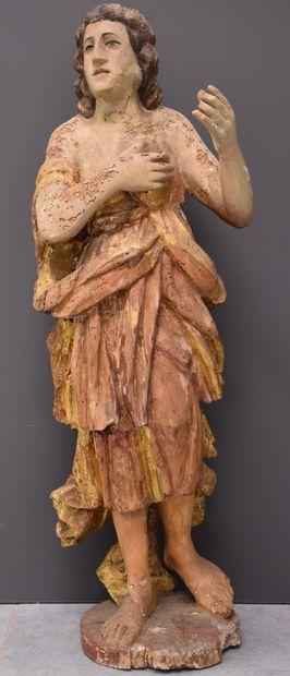 Sculpture en bois polychrome, époque baroque....