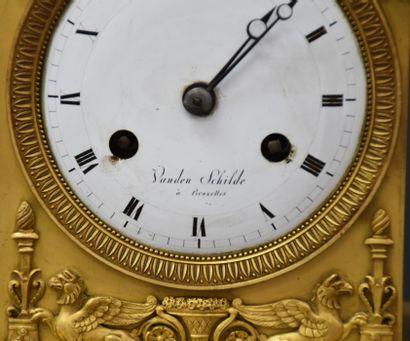 Empire period gilt bronze clock, Diana with a dragonfly. Dial signed Vanden Schilde...