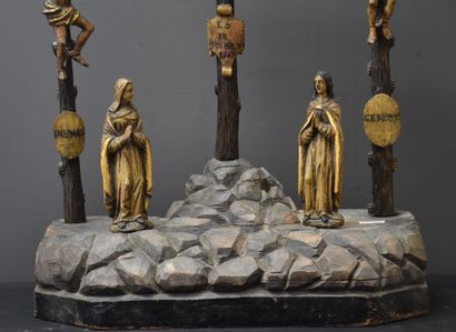 Carved and polychromed wood Calvary. 17th century period. Later base. Crucifix dated...