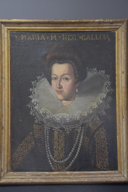 Presumed portrait of Marie de Medici, oil on canvas 17th century. Discovered in...