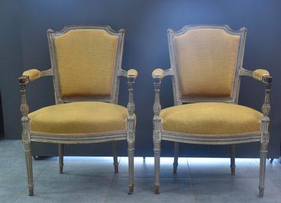 Paire de fauteuils de style Louis XVI, époque...