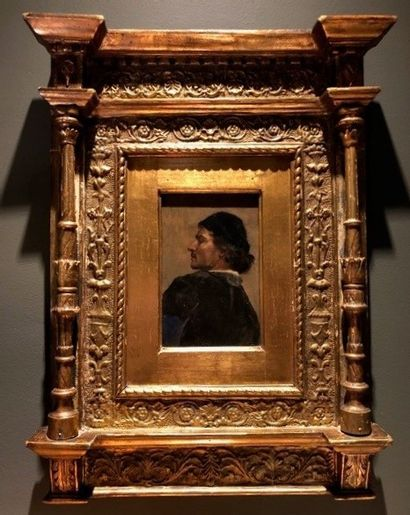Gilded wood frame in the Renaissance style. Probably Italy XVII th century. Later...