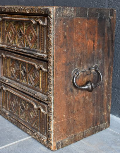 Spanish bargueno XVII th century decorated with small reserves painted with arabesques,...
