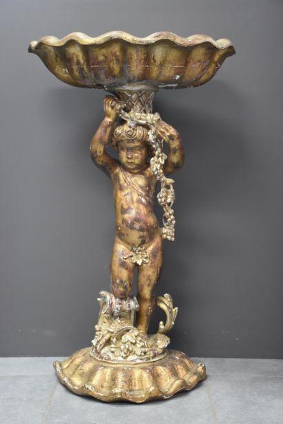 Jardinière vénitienne en bois sculpté et...
