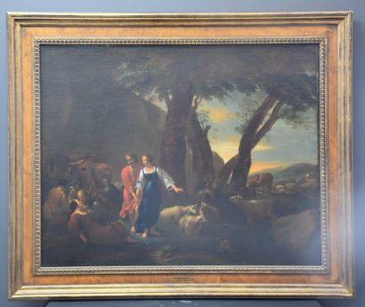 Huile sur toile romantique XVIII ème alliant...