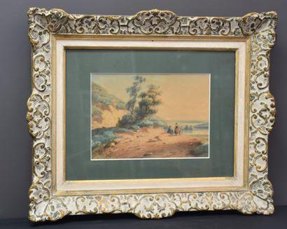 Aquarelle vers 1830. Famille de paysans descendant...