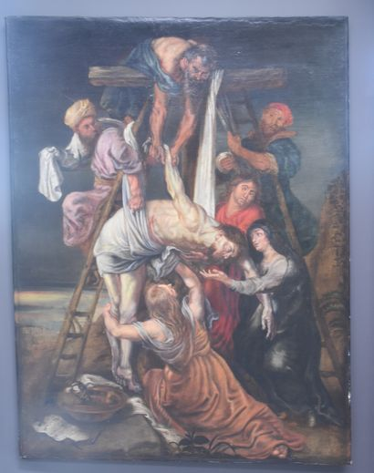 Descente de croix. École anversoise XVIII...