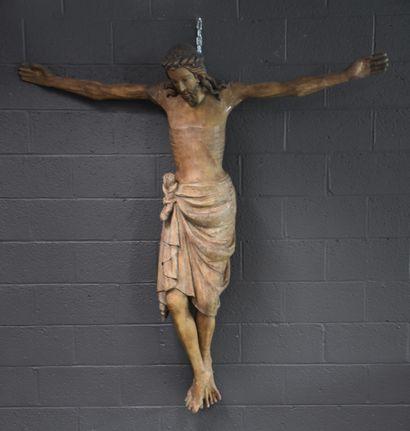 Important christ néo-gothique en plâtre à...