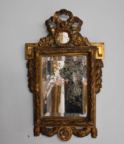 Petit miroir en bois doré d'époque Louis...