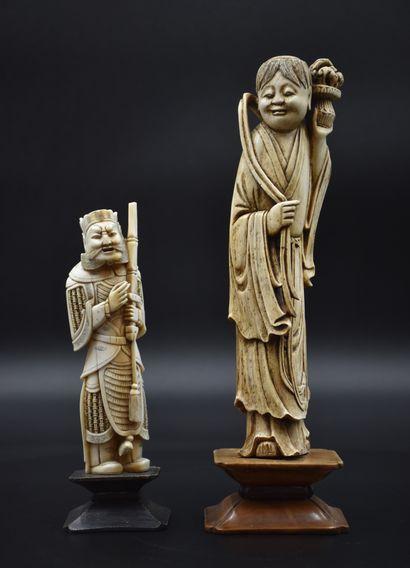 Lot de deux sculptures en ivoire chinois...