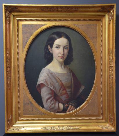 Portrait de jeune fille vers 1820. Huile...