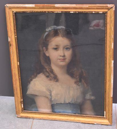 Portrait de jeune femme. Huile sur toile...