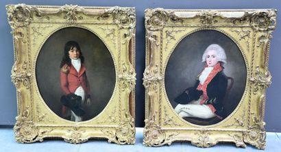 Paire de portraits d'élégants vers 1800....