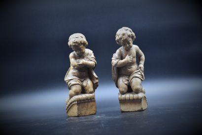 Couple d' angelots en bois sculpté XVIIIème....