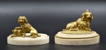 Paire de chiens en bronze doré sur socles...