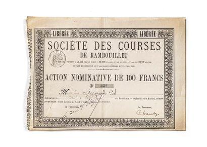 Société des courses de Rambouillet Action nominative de 100 francs Fin XIXe siè...