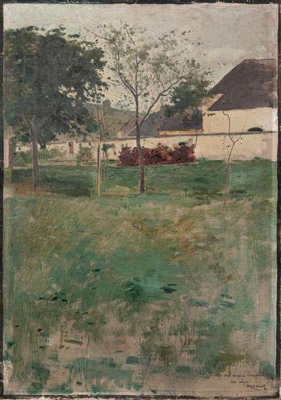 IMMENIER (Ecole du XIXe siècle) Vue de jardin...
