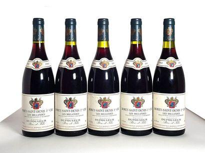 5 bouteilles Morey-Saint-Denis 1er cru Les...