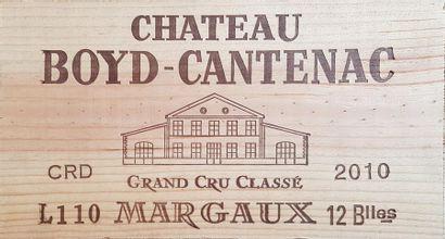 12 Bouteilles Château Boyd-Cantenac, GCC3 Margaux, 2010 Caisse bois Lot assujetti...