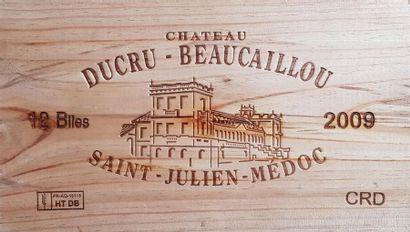 12 Bouteilles Château Ducru-Beaucaillou, GCC2 Saint-Julien, 2009 Caisse bois Lot...
