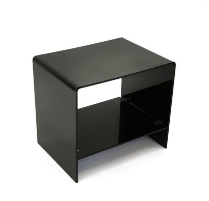 Bedside table in black tinted plexiglass...