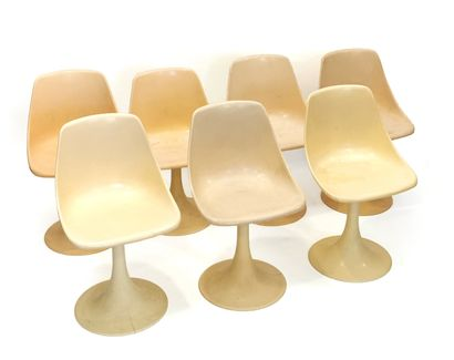 Suite of seven tulip chairs with swivel ABS...