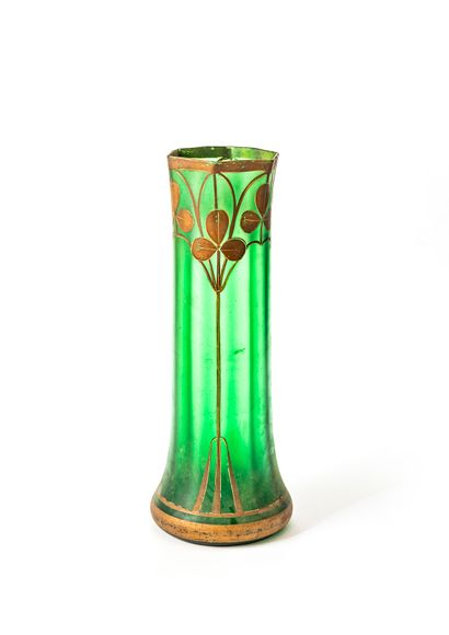 High vase in green tinted glass with painted...