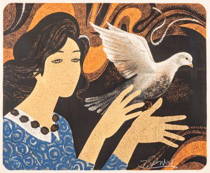 Z. SANDRE (20th century school)  Woman releasing...