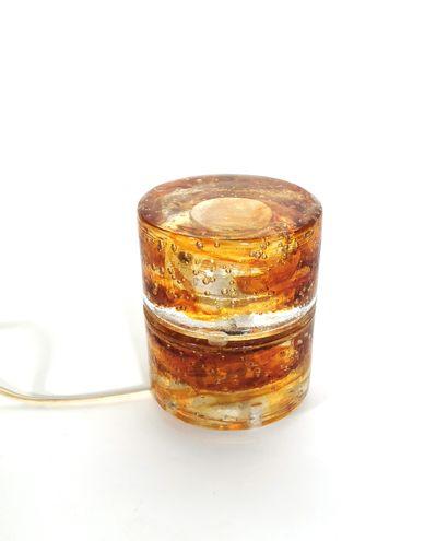Lampe à poser à section cylindrique en verre...