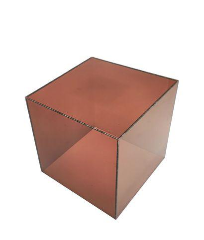 Smoked plexiglass sofa end in cubic shape...