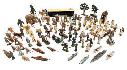 *Set of hollow lead and aluminium figurines...