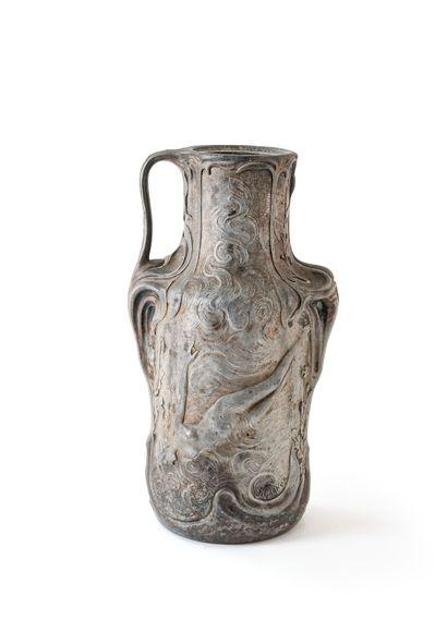 Jean GARNIER (1853-1910)  High pewter vase...