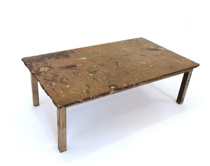 Modernist coffee table with fossilized marble...