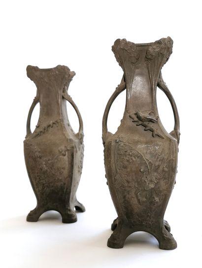 MOREAU, circa 1900  Pair of vases in ruler...