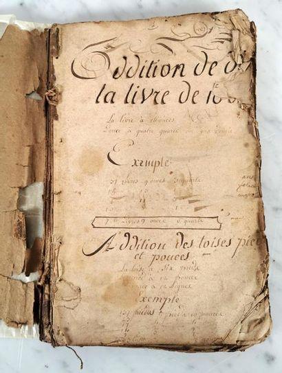 MANUSCRIT – MANUEL D'ARITHMETIQUE, vers 1793...