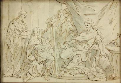 École italienne vers 1700 Le roi David Encre,...