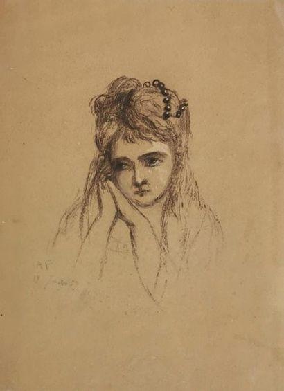 École du XIXe siècle Portrait de jeune fille...
