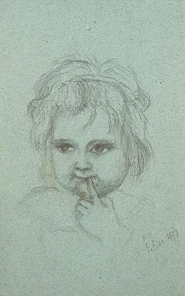 École du XIXe siècle Portrait d'enfant Crayon...