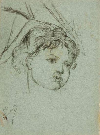 École du XIXe siècle Portrait d'enfant Dessin...