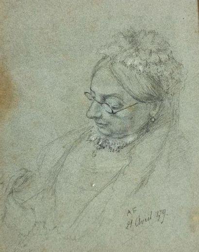 École du XIXe siècle Femme au tricot Dessin...