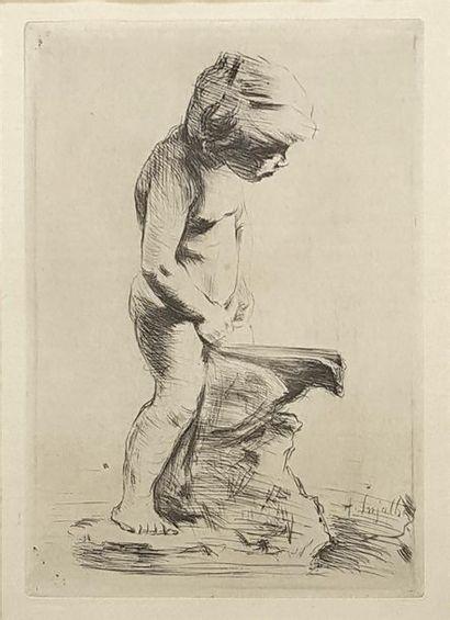 Antoine INJALBERT (1845-1933) Putto urinant...
