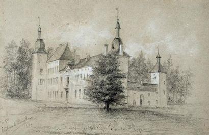 École du XIXe siècle Vue de château Crayon...